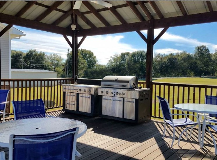 picnic and grilling pavilion with large grill
