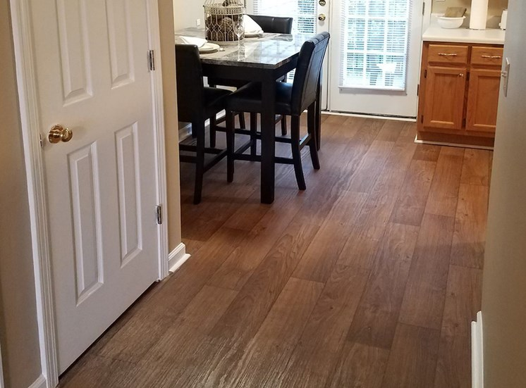 plank style flooring in apartment
