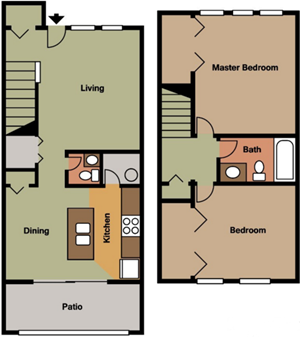 Two Bedroom-Townhouse-One and One Half Bath