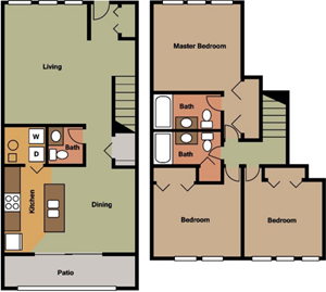 Three Bedroom-Townhouse-Two and One Half Bath