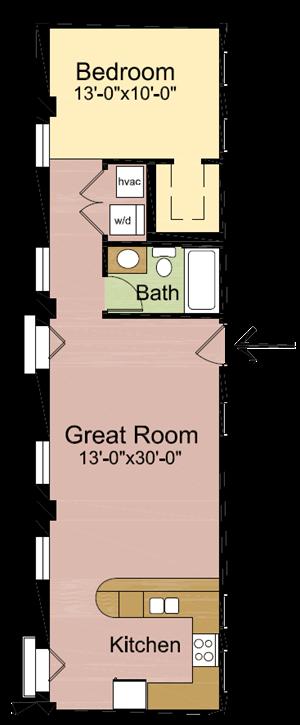 1 Bedroom – 1 Bathroom