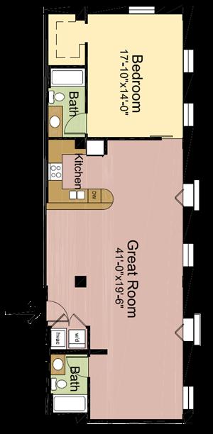 1 Bedroom – 2 Bathrooms