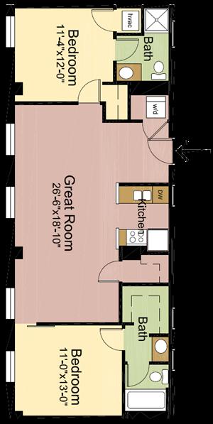 2 Bedrooms – 2 Bathrooms
