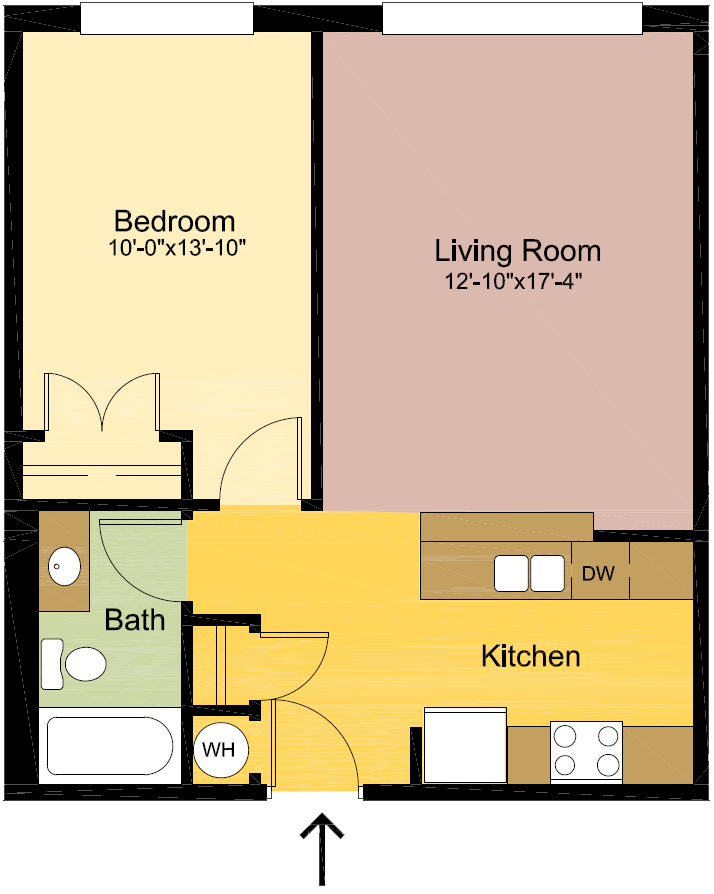 1 Bedroom – 1 Bathroom Floor Plan 2