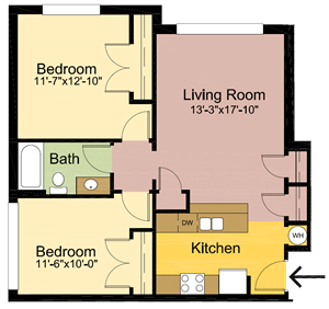 2 Bedrooms – 1 Bathroom