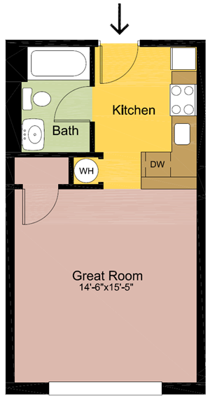 Studio – 1 Bathroom