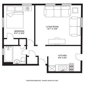 1 Bedroom/1 Bath - Apts. 3 & 4