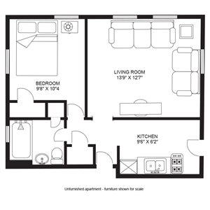 1 Bedroom/1 Bath - Apts. 1 & 2