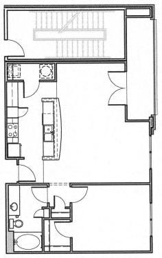 1 Bedroom With Computer Nook Floor Plan 4
