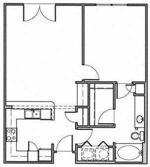 Medium 1 Bedroom Floor Plan 3