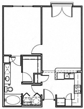 Standard 1 Bedroom Floor Plan 2