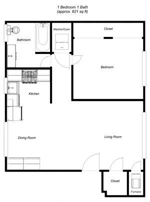 1 bedroom, 1 bathroom 682