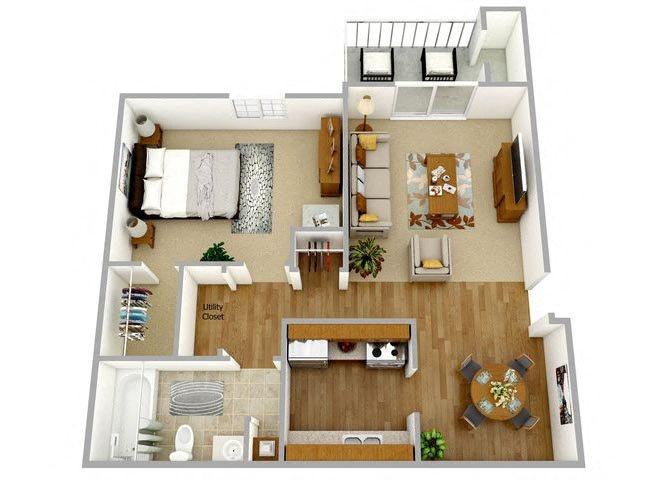 One Bedroom One Bath Upper Floor Plan 2