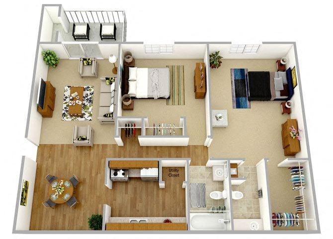 Two Bedroom One and Half Bath Upper Floor Plan 4