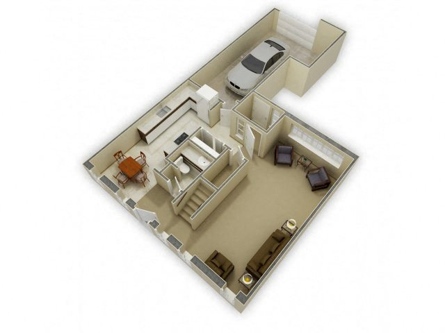 1st Floor 3D Floor Plan at Birchwood Homes, Alaska
