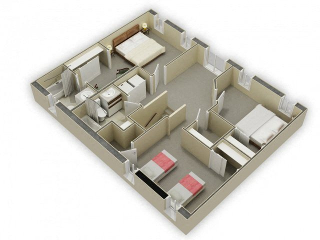 2nd Floor 3D Floor Plan at Birchwood Homes, Alaska, 99701