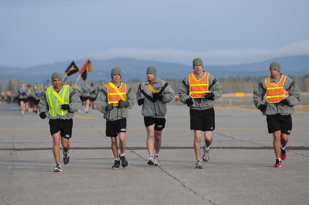 Army Officers Discuss Housing During Physical Training at Fort Wainwright