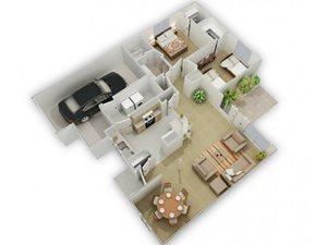 The Juniper Mist Floorplan at Three Waters Green apartments in Pensacola, FL  32506