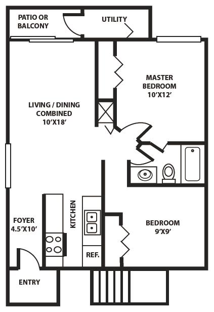 2BED / 1BATH Floor Plan 1
