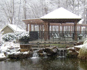 Snow on gazebo in winter at Grand Highlands at Mountain Brook Apartment Homes Vestavia, Birmingham, AL 35223
