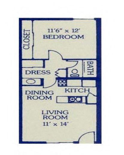 1 Bed/ 1 Bath Floor Plan 4