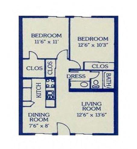 2 Bed/ 1 Bath Floor Plan 6