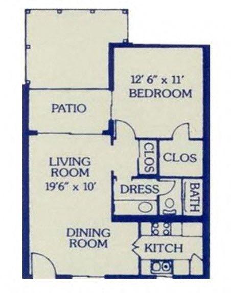 1 Bed/ 1 Bath Large Floor Plan 3