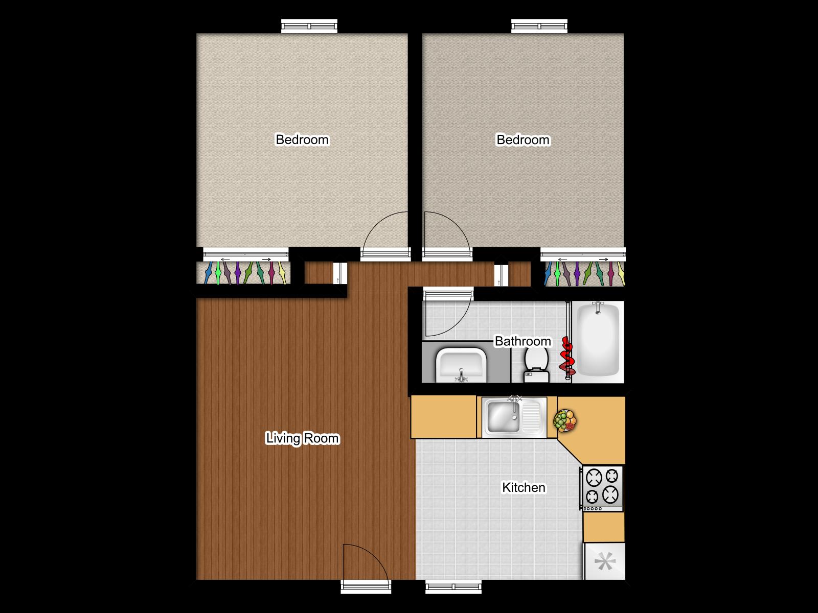 2x1 Floor Plan 1