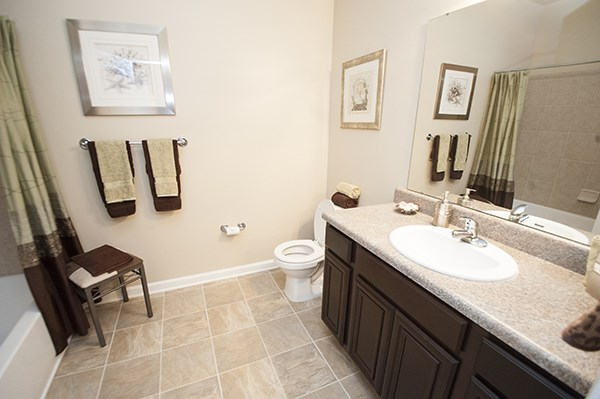 Attached baths in apartment master suites at The Enclave at Pamalee Square Apartments, Fayetteville, NC,28301