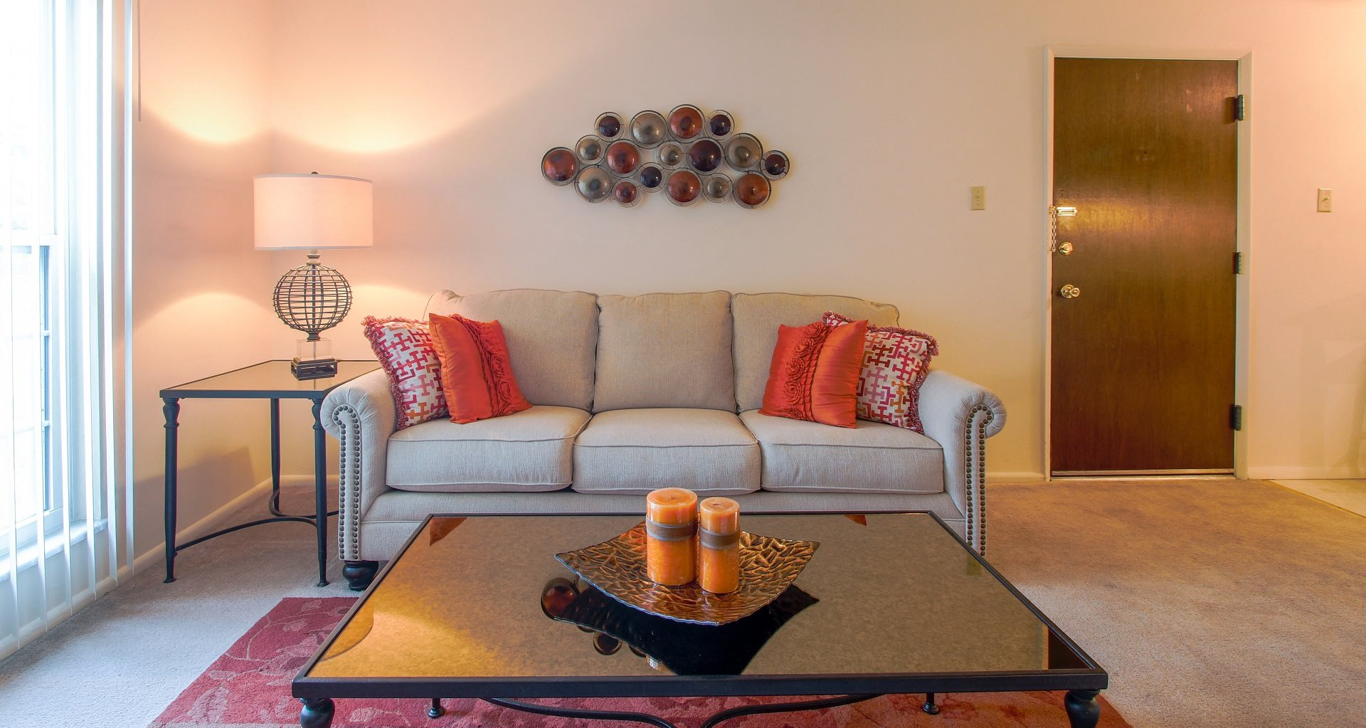 Spacious living room at Greenmar Apartments in Fenton, MO.