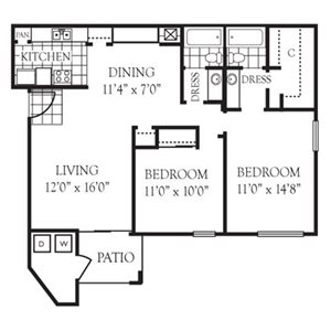 Default on 750 sq ft floor plan