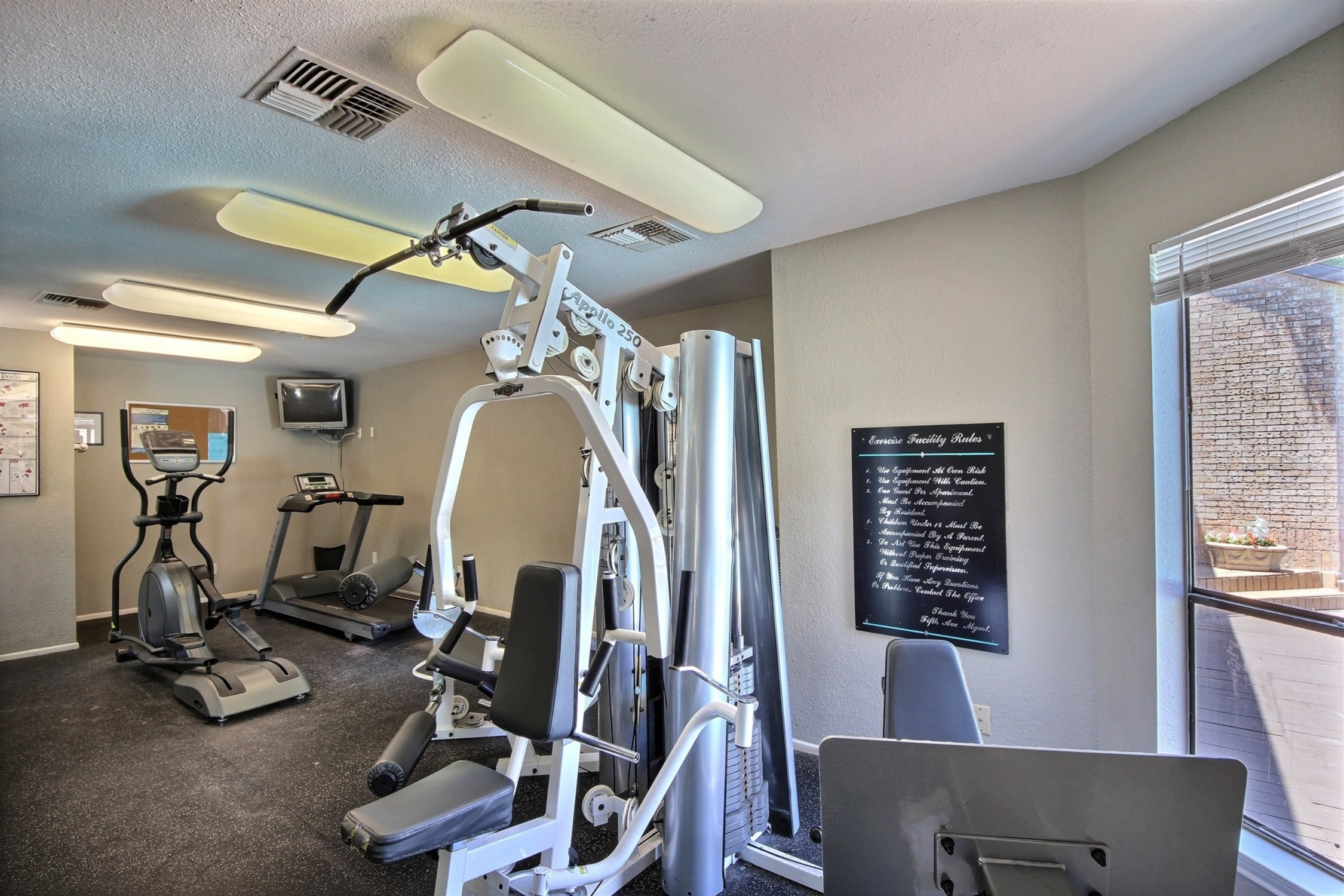 Why pay a gym membership when you have an on-site gym just steps away