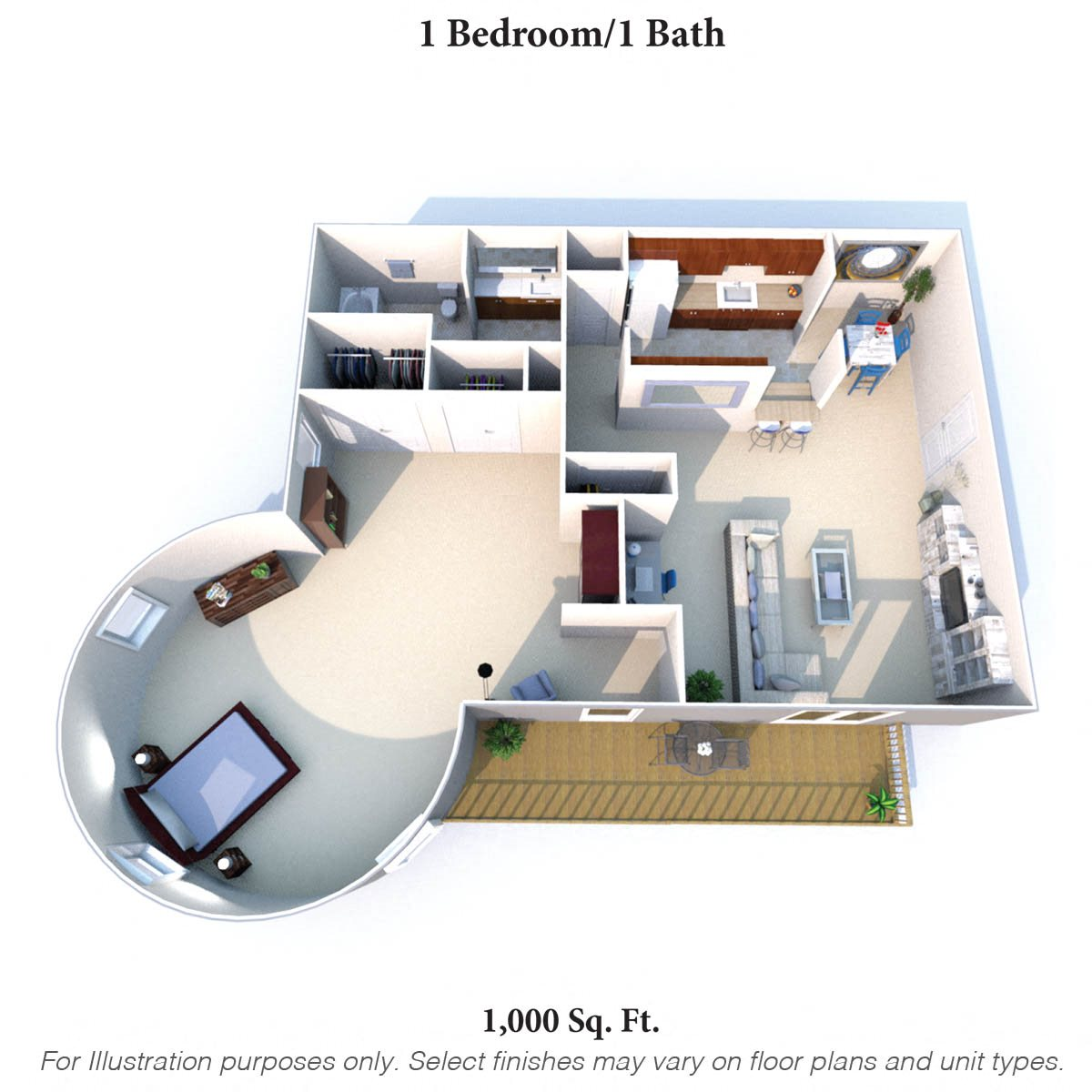 1 Bedroom 1Bath D Floor Plan 3