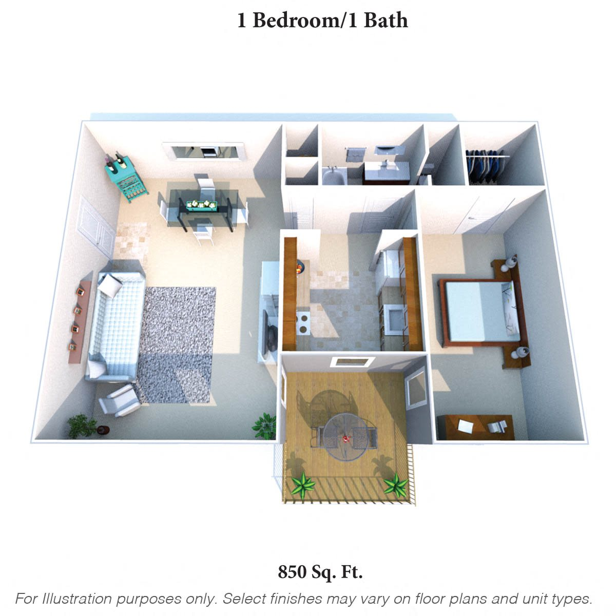 1 Bedroom 1 Bath A/B Floor Plan 1