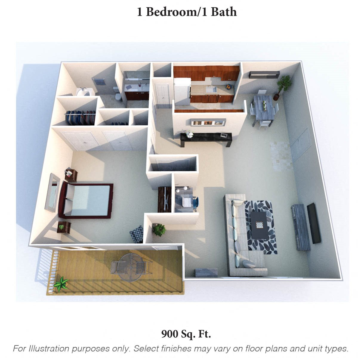 1 Bedroom 1 Bath C Floor Plan 2