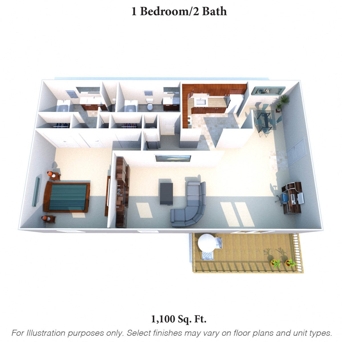 1 Bedroom 2 Bath E Floor Plan 4