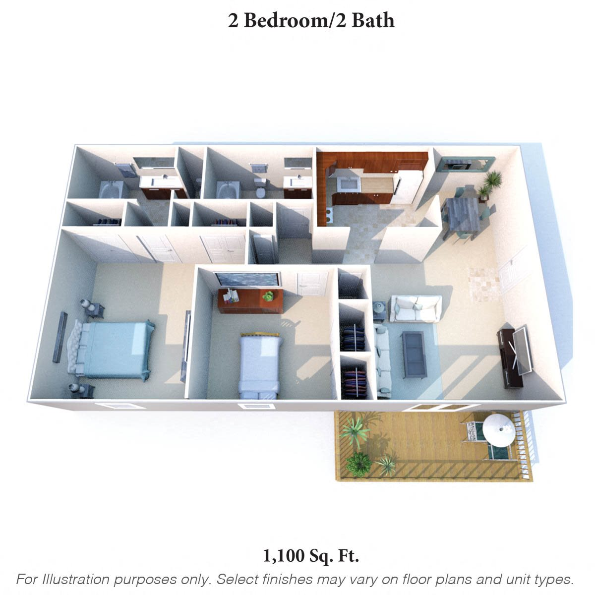 2 Bedroom 2 Bath A Floor Plan 5