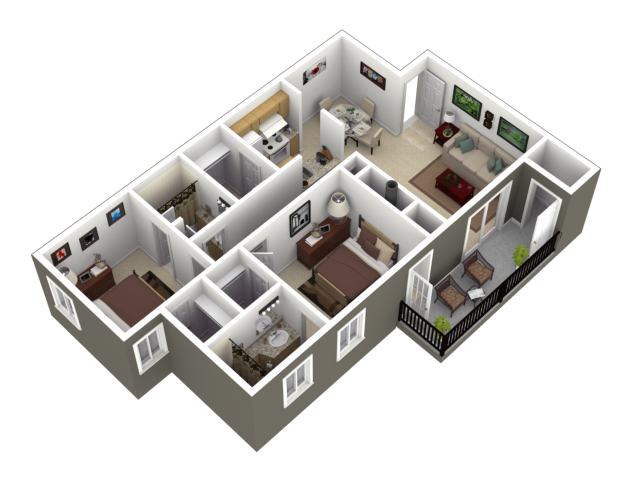 The Birch Floor Plan at Woodview Apartments in Kansas City