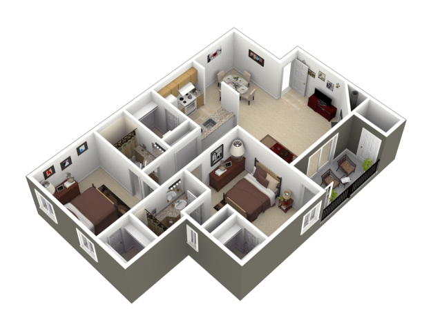 The Dogwood Floor Plan at Woodview Apartments in Kansas City