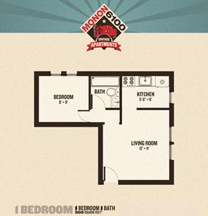 Monon 6100 - 1 Bedrooms FloorPlan at Buckingham Monon Living, Indianapolis, IN, 46220