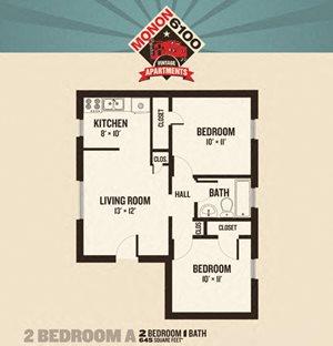 Monon 6100 - 2 Bedrooms FloorPlan at Buckingham Monon Living, Indianapolis, IN