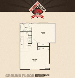 Monon Park - 1 Bedrooms FloorPlan at Buckingham Monon Living, Indianapolis, IN