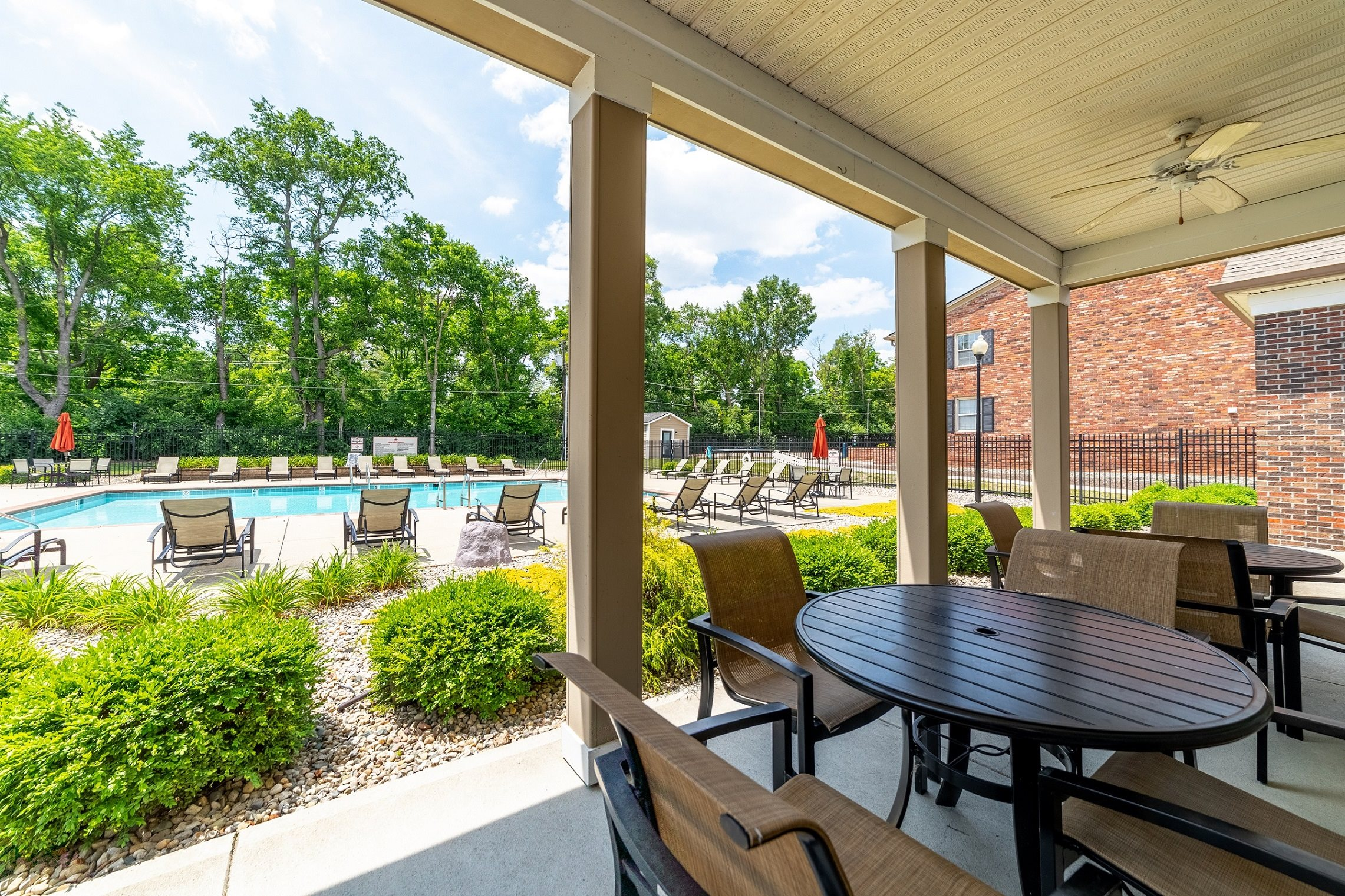 Shaded Lounge Area By Pool at Buckingham Monon Living, Indianapolis, 46220