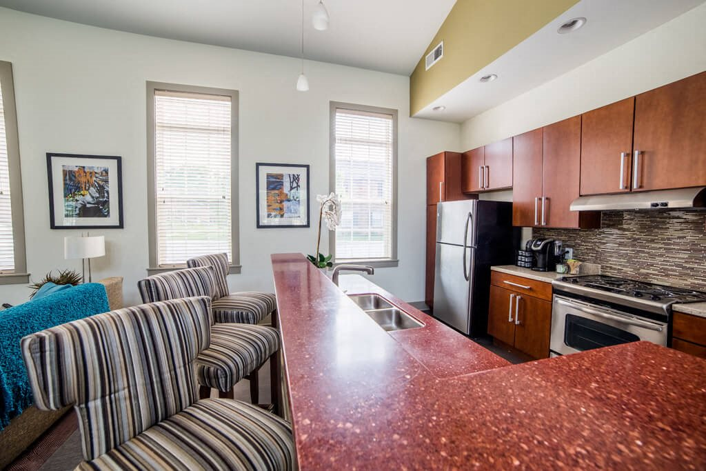 Fully Equipped Kitchens and Dining, at Buckingham Monon Living, Indianapolis Indiana