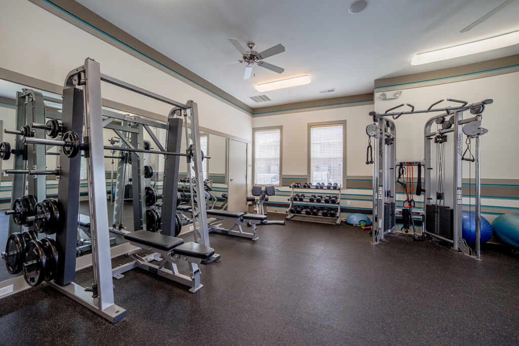 24-hour Fitness Center with Free Weights, at Buckingham Monon Living, Indianapolis, IN 46220
