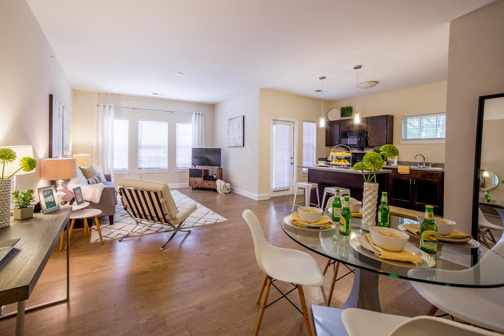 Living Room With Plenty Of Natural Light, at Buckingham Monon Living, Indianapolis Indiana