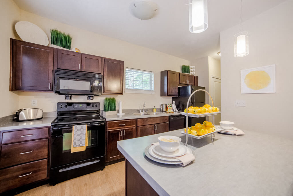 Gourmet Kitchen With Island, at Buckingham Monon Living, Indiana, 46220