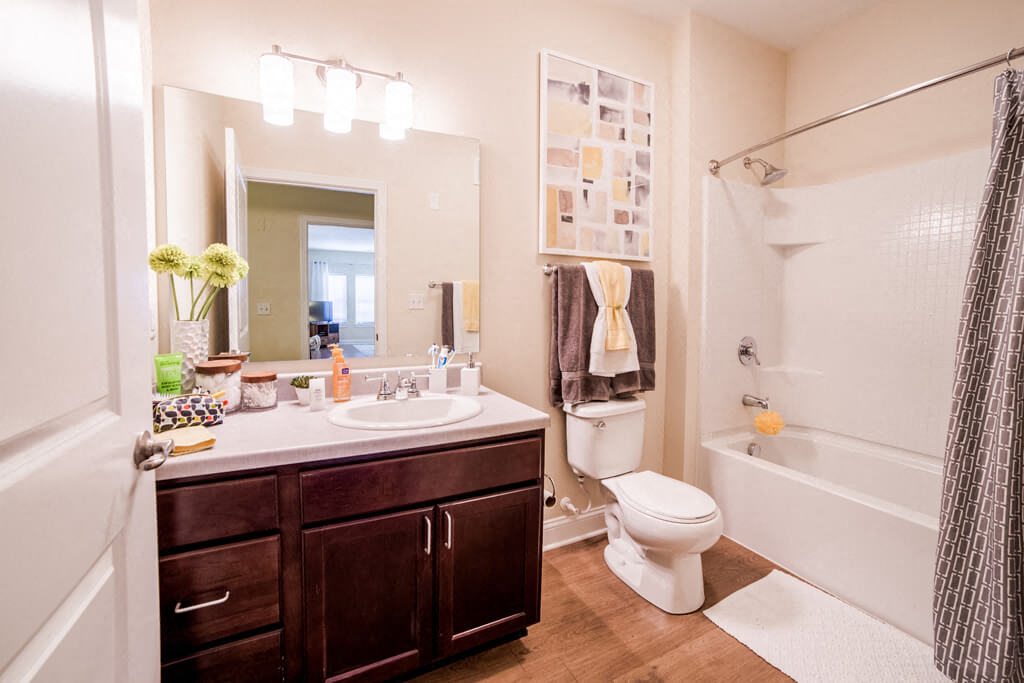 Bathroom With Adequate Storage, at Buckingham Monon Living, Indianapolis, 46220