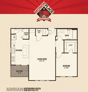 Monon Place II - 1 Bedrooms FloorPlan at Buckingham Monon Living, Indianapolis, IN, 46220
