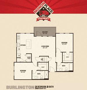 Monon Place II  -  2 Bedrooms FloorPlan at Buckingham Monon Living, Indianapolis